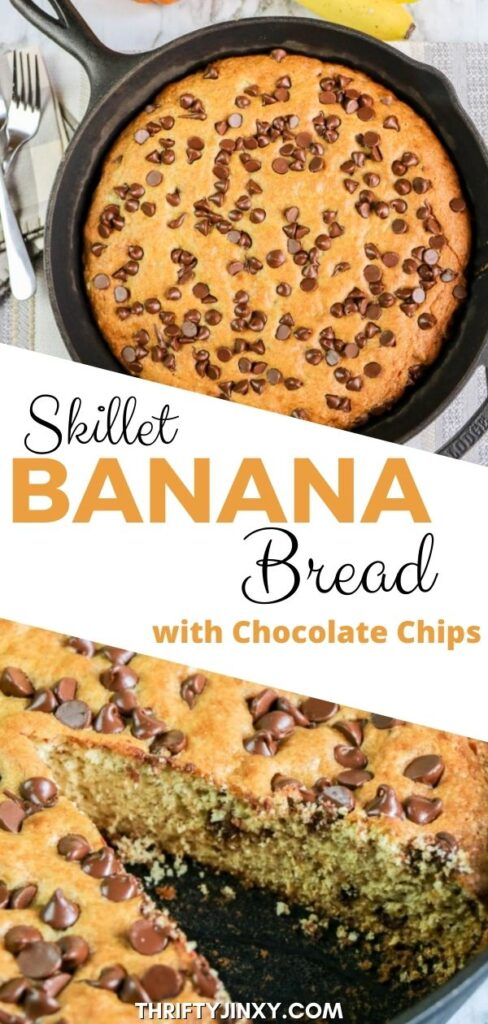 Skillet Banana Bread with Chocolate Chips