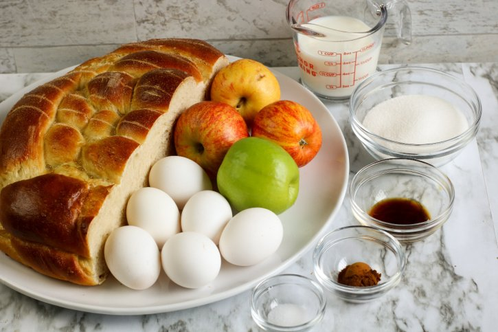 Apple Challah French Toast Casserole ingredients apples, eggs, spices
