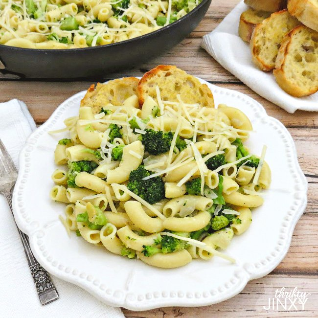 Elbow Macaroni with Broccoli Parmesan and Garlic