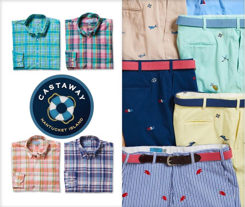 Castaway Nantucket Island Shirts and Embroidered Shorts