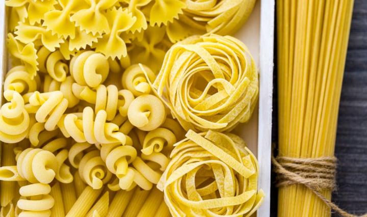 variety of dry pasta