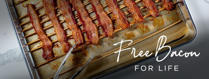 ButcherBox Free Bacon for Life Promotion with bacon on baking tray