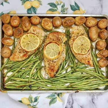 SheetPanLemon Pepper Chicken with Green Beans and Potatoes