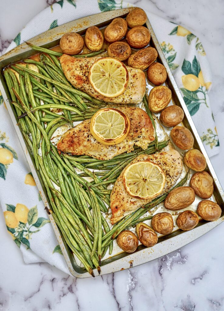 sheet pan chicken with beans